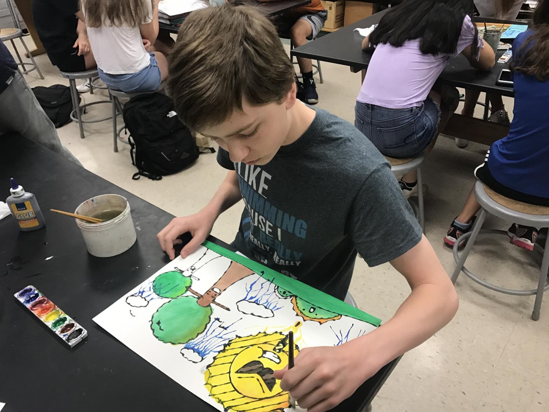 Freshman Brandon Jawor in art class.