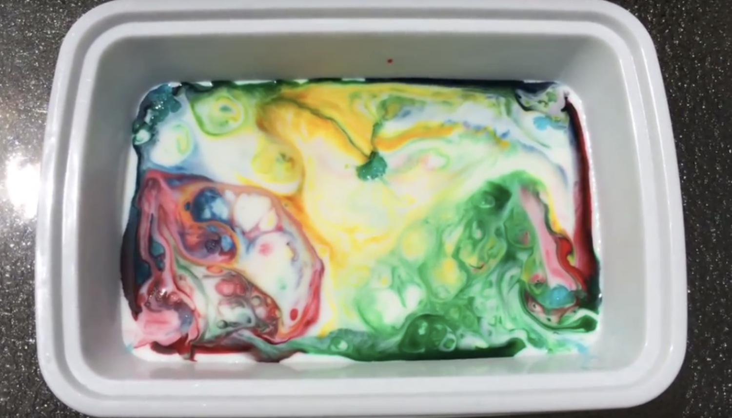 The final product of the Color Symphony science experiment.
