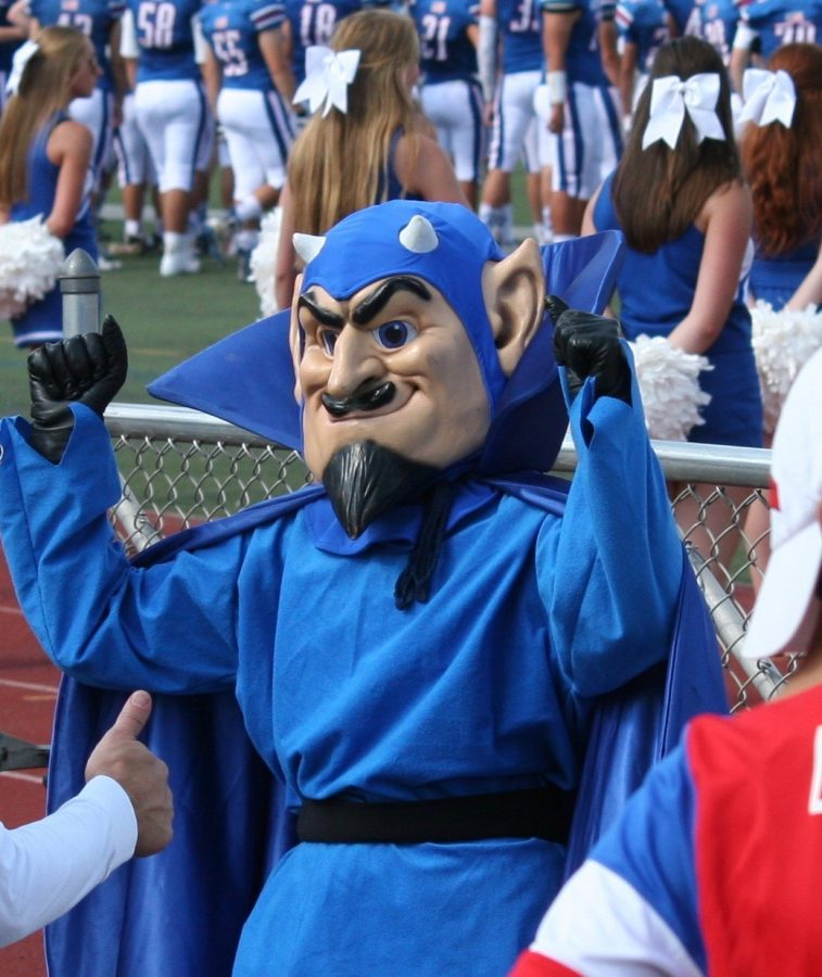 Blue Devil cheering at home game