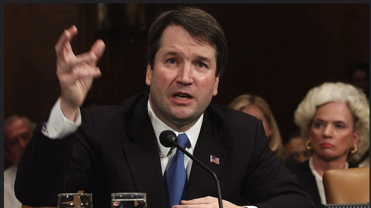 Kavanaugh testifying in front of the Senate Judiciary Committee.