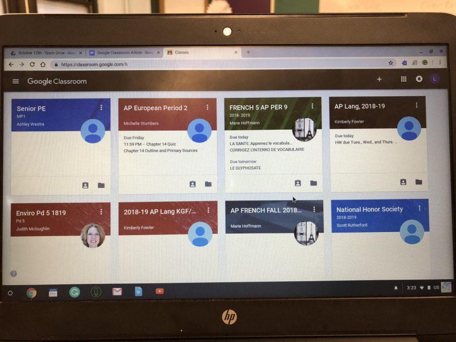 A Google Classroom homescreen.