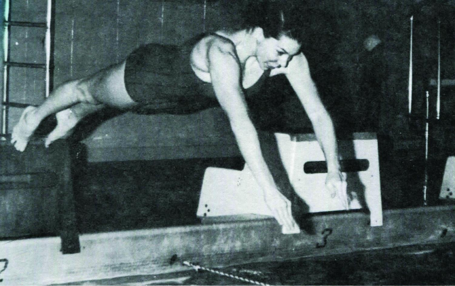 Condrillo practicing for her 1973 meet against Morristown.