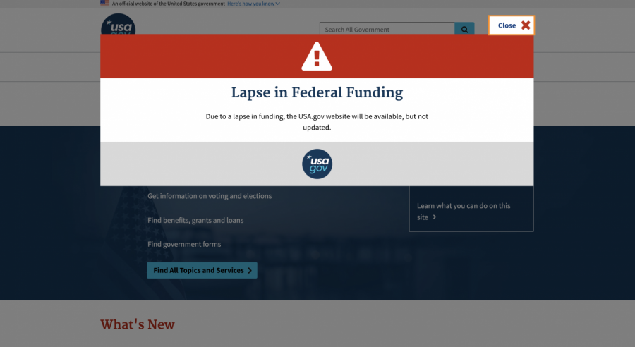 The pop-up on USA.gov during the government shutdown