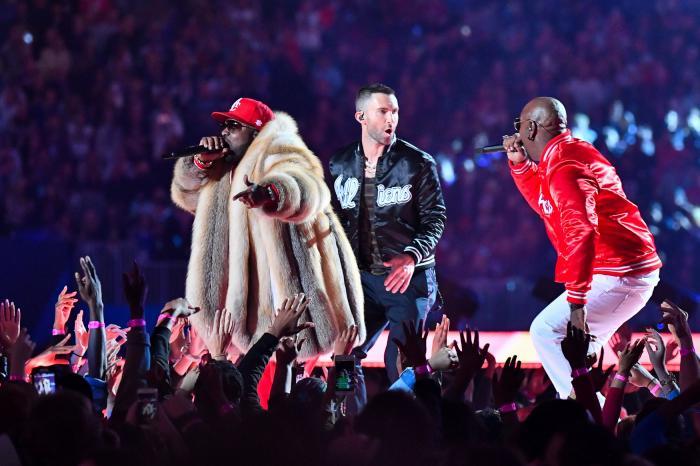 Big Boi, Adam Levine and Sleepy Brown performing at Super Bowl LIII