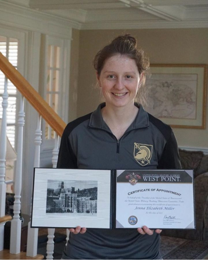 Jenna Miller with her acceptance to West Point