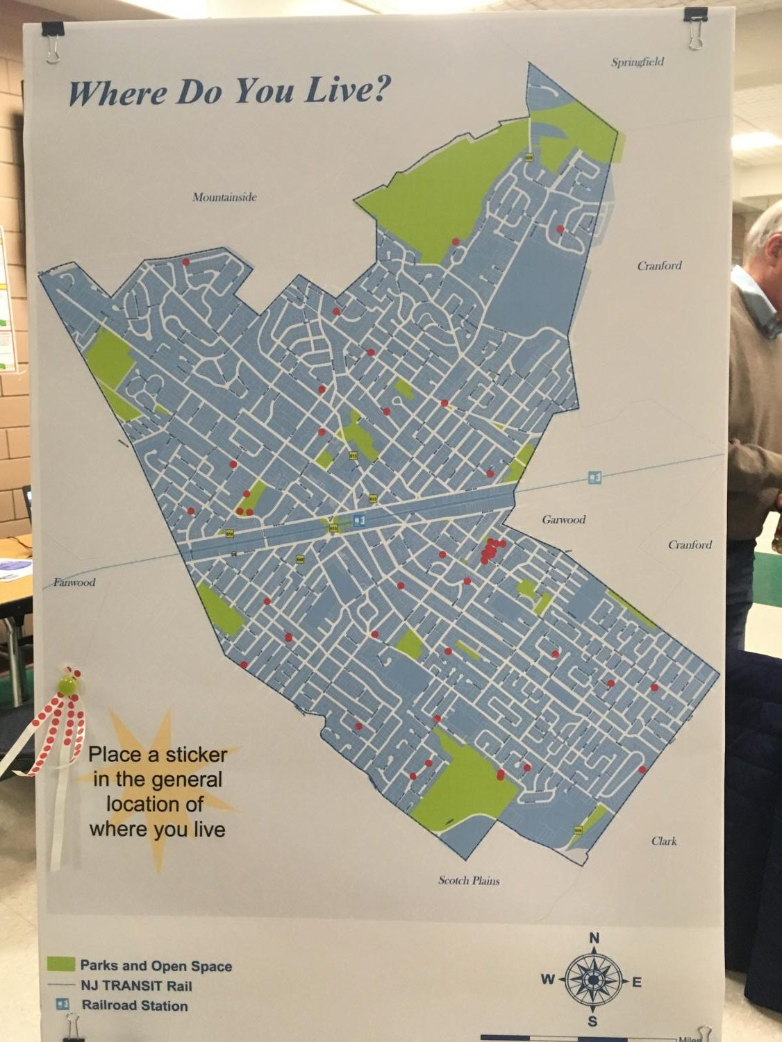 Map of Westfield used at Master Plan meeting to measure community involvement