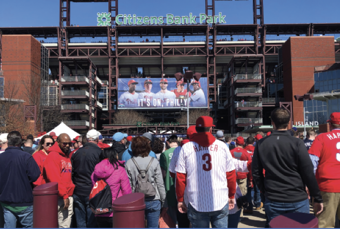Hopeful+fans+flock+into+Citizens+Bank+Park%2C+eager+to+watch+their+new-look+Phillies+for+the+first+time+in+2019.