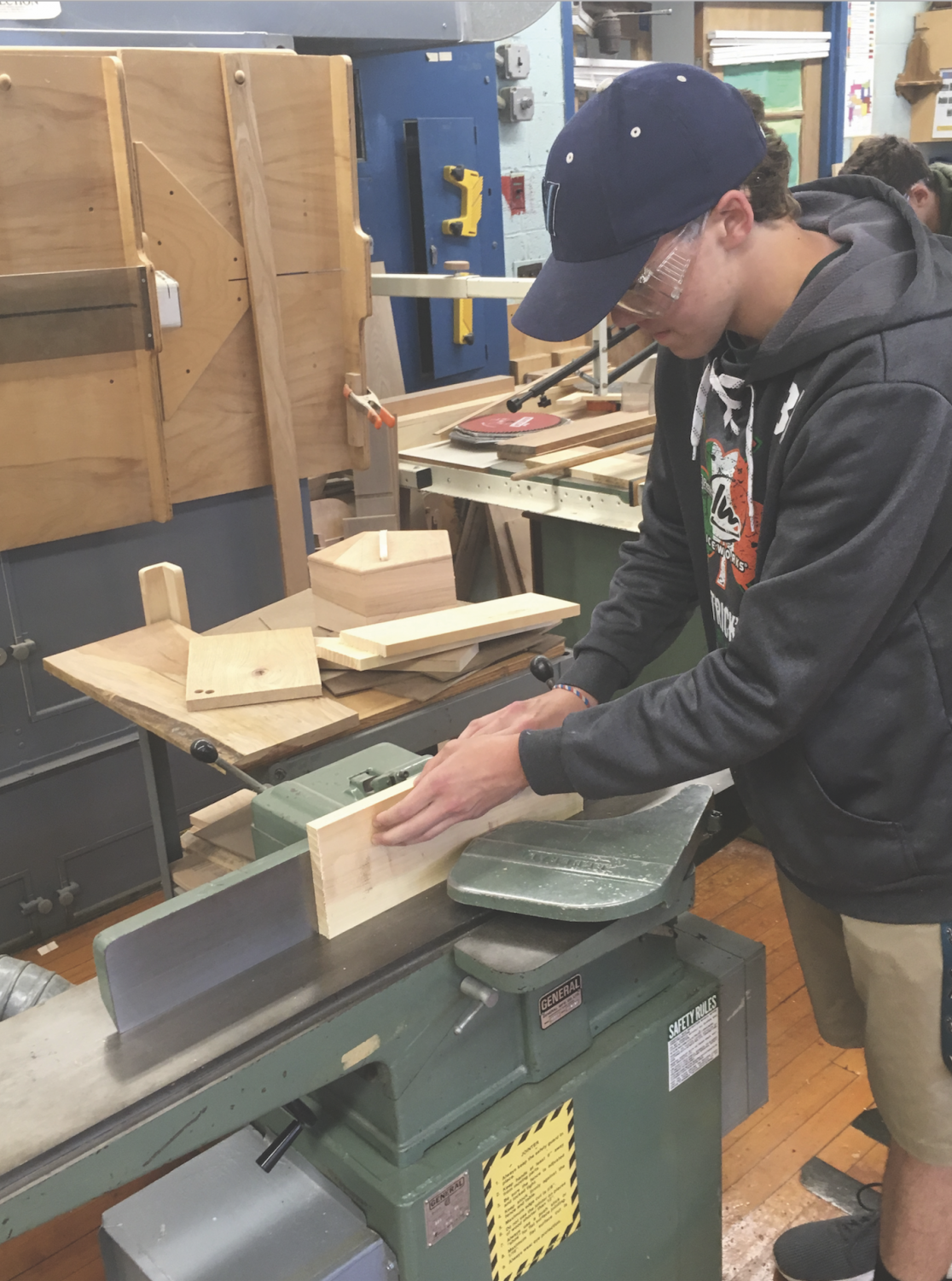 Junior Jack Ruckman works on a project in Woods ll