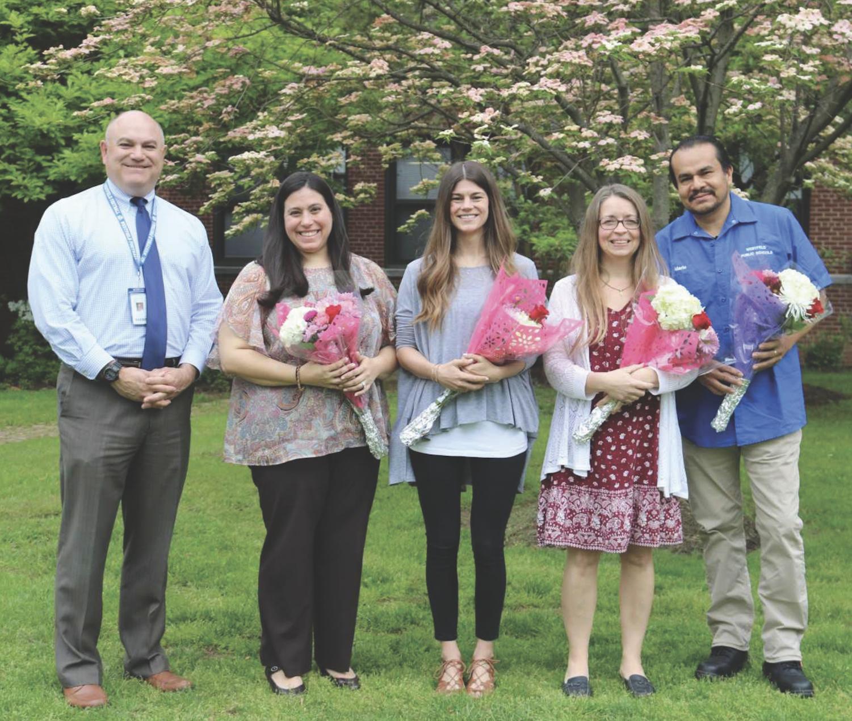 Award recipients with Interim Principal Jim DeSarno: (left to right) Lara Rinaldi, Erin McKeon, Aimee Burgoyne-Black, Mario Arana  photo by Mar