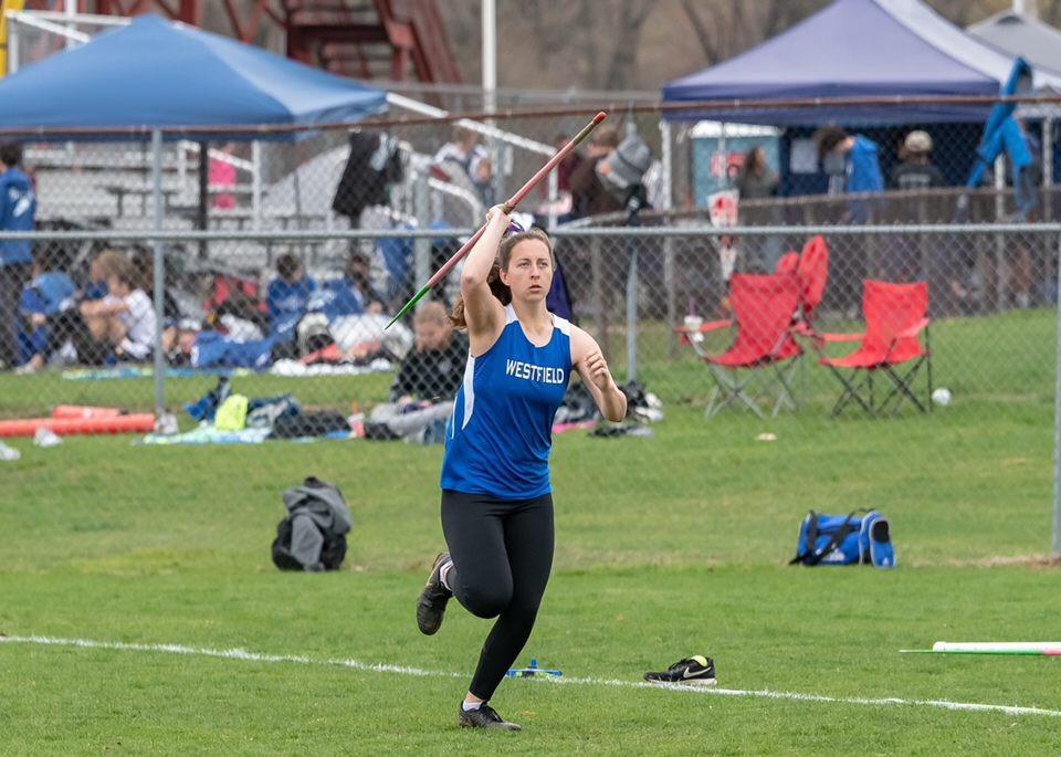 Senior Maggie Kelly throwing javelin at the Matawan Relays.