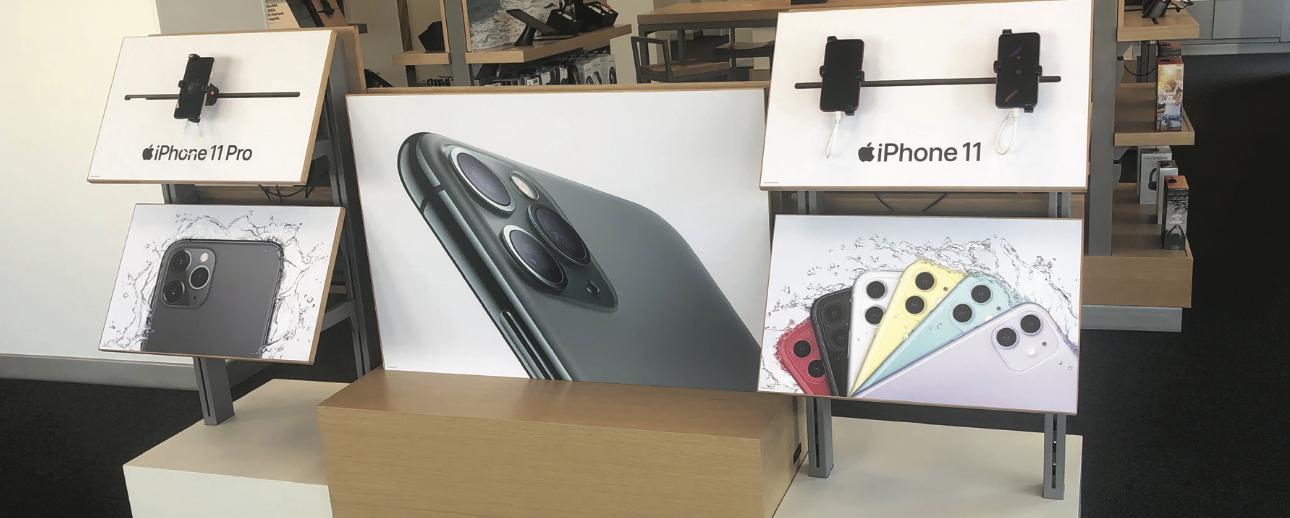 iPhone 11 display at Verizon store in Westfield