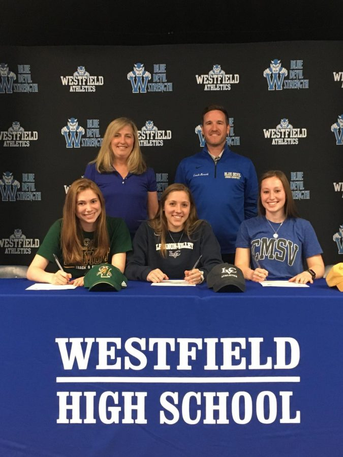 Track+athletes+signing+their+NLI+in+May+2019+with+their+coaches%0A