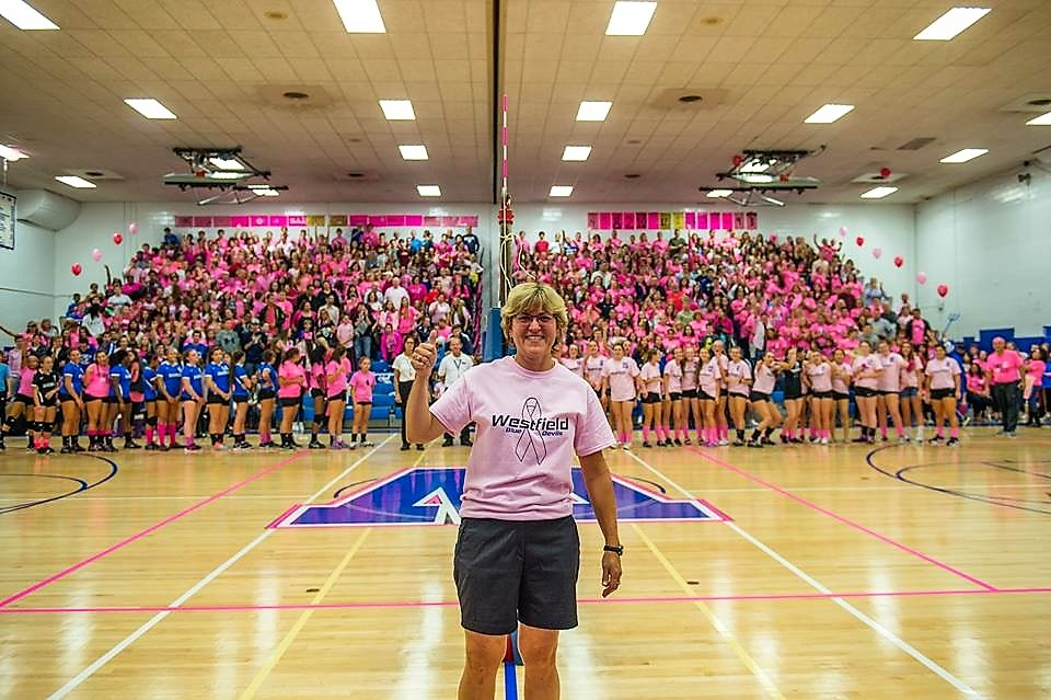 Beverly Torok at a Pink Out event