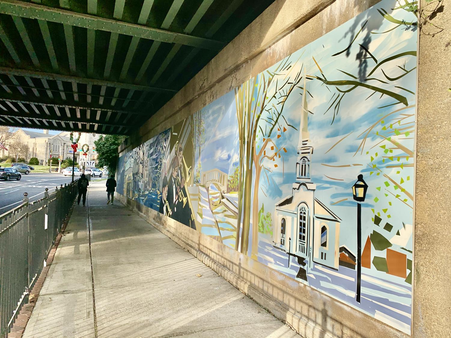 Mural displays the town's gems, including the Presbyterian Church