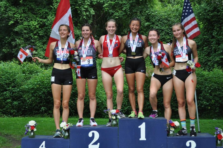 Grace+Endy+%28in+red%29+competing+for+U.S.A.+after+a+dual+meet+against+Canada+in+Philadelphia+