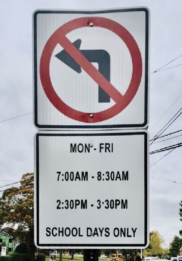 "New ""no left turn"" sign posted at the corner of Dorian Rd. and Rahway Ave."