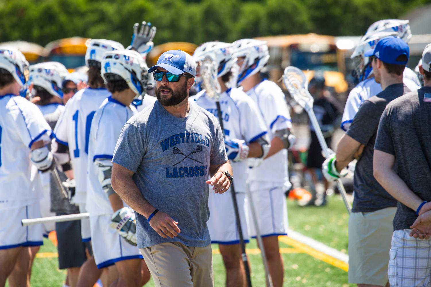 Coach Wertheimer in action on the lacrosse field