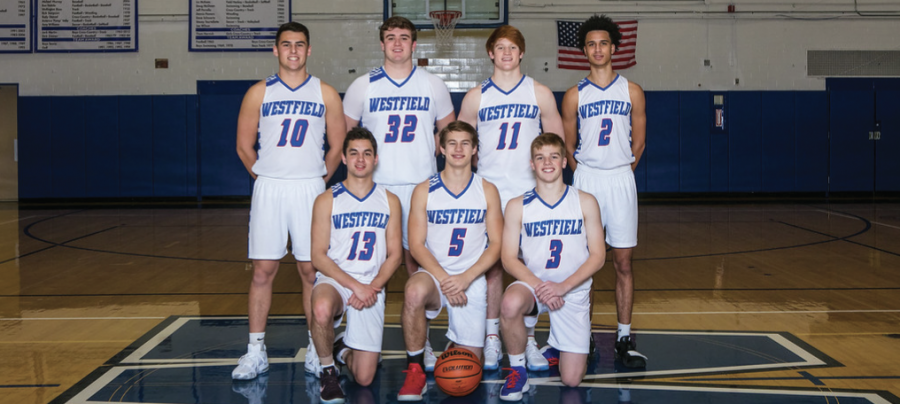 Senior basketball players from left to right: Hank Shapiro, Declan McCauley, Colin Freer, Ray Hurtt (top row), Jake Walsh, Griffin Rooney, Andrew Eschausse (bottom row)