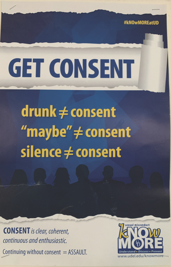 Consent sign hanging up in Room 140