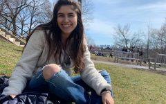 Kayla Butera on the hill at Tufts