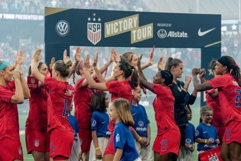 USWNT on their 2019 victory tour after winning their fourth World Cup title.