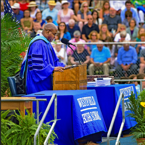 Dr. Derrick Nelson speaking at WHS Graduation 2018
