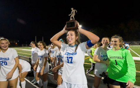 Faith Dobosiewicz celebrating the Union County Championship