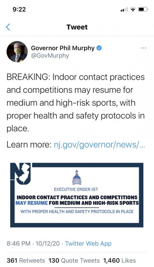 Governor Murphy's tweet allowing the resumption of indoor sports