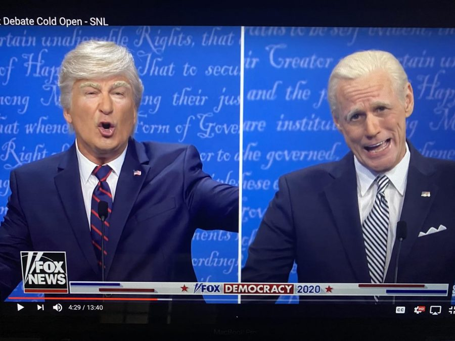 Screengrab of Alec Baldwin and Jim Carey on SNL
