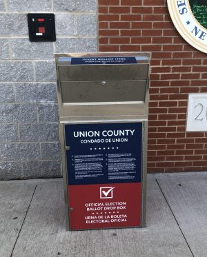 Ballot drop box at the Union Count Clerk's Office.