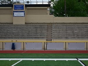 Empty stands at Kehler Stadium