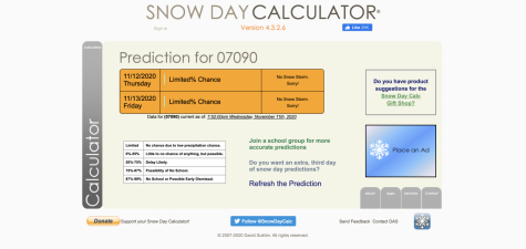 Calculation of a snow day for the 07090 area