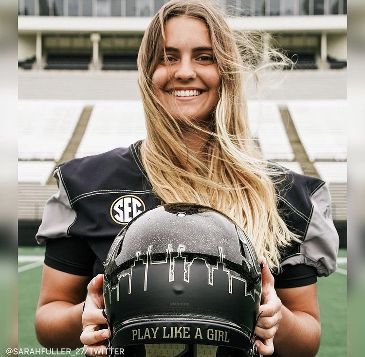 "Sarah Fuller in uniform repping her ""Play Like a Girl"" helmet"
