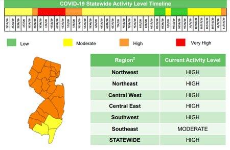 COVID-19 NJ activity map
