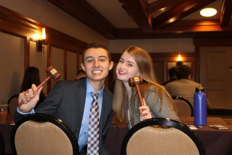 Anderson and fellow Officer Alison Walsh at the 2020 Model United Nations Conference at Hershey, PA