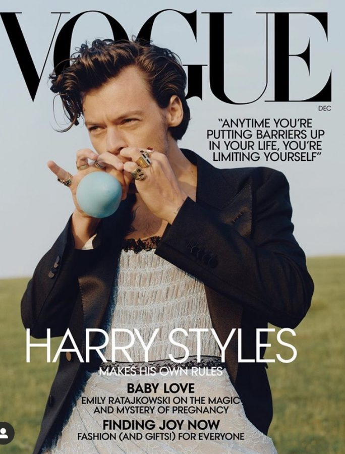 Harry Styles on the cover of the December 2020 issue of Vogue