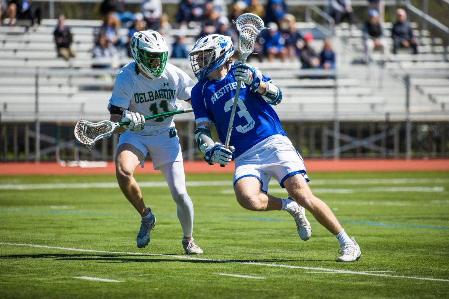 Mack Prybylski in action during Westfield's 5-4 overtime win aginst Delbarton on May 1
