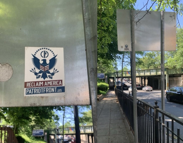 The most recent Patriot Front sticker on Central Ave in Westfield