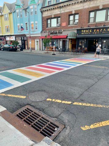Rainbow crosswalk in downtown Westfield