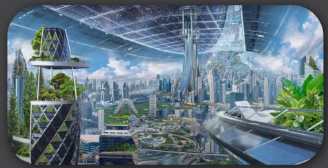Blue Origin sketches of self-sustaining space civilizations.