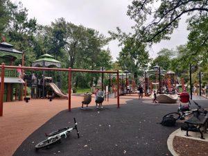 Children playing at the Mindowaskin Park playground